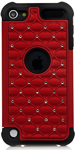 Apple Itouch Design Snap (ISEE Schutzhülle (TM) Hybrid Luxurious Lattice Dazzling Bling Bling Total Defense Dual Layer Combo Hart Weiche Haut Gel-Hülle für Apple iPod Touch 5iTouch 5(it5-hybrid Star + Stift), Rot)