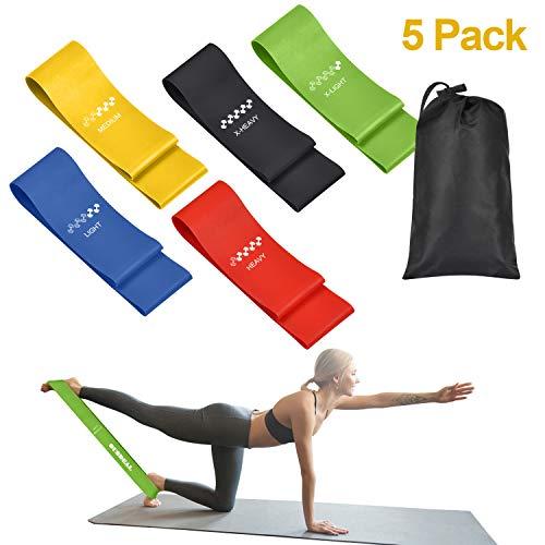 oundeal bande elastici fitness, bande fitness di lattice naturale, bande di resistenza fitness con 5 livelli di resistenza e borsa, fasce elastiche fitness per yoga, pilates