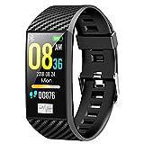 """LWPCP Fitness Tracker PPG + HRV ECG Test di Pressione sanguigna 1.14""""135X240 Risoluzione Bracciale Intelligente Multi Sport Mode Wristband Impermeabile,Black"""