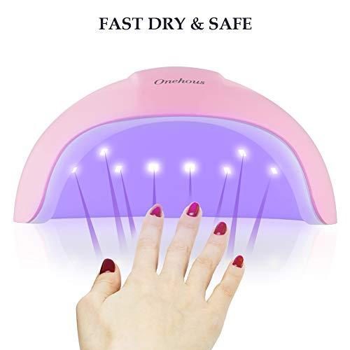 Lampara Led UV Uñas, Secador de uñas de Lampara uñas con 3 temporizadores de 30s,  60s y 90 s, Pantalla LCD,  Ideal para uñas de gel y todo tipo de manicura (Rosa)