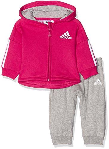 adidas Klein Kinder Baby Anzug Style Full Zip Hooded Jogger vivd berry / grau, Größe:92 (Kleiner Zip Full Fleece Junge)