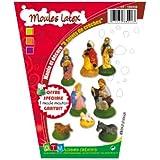 DTM - Moules Latex Thème Crèche de Noel - Lot de 9 moules - Loisirs créatifs