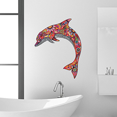 red-large-abstract-dolphin-bathroom-kitchen-bedroom-lounge-wall-transfer-decal-mural
