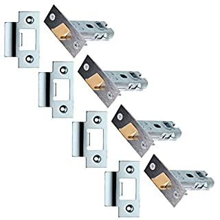 XFORT® 4 Sets of Tubular Latch, High Quality Mortice Latch, Door Latch Designed to be Used with Sprung Lever Door Handles, Fire Rated to EN1634-1 Standards (75mm, Polished Chrome) (4)
