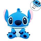 16GB DataTraveler USB 2.0 High Speed Soft Silicon Novelty Cute Cartoon Stitch Shaped Flash Memory Stick Pen Drive - Blue