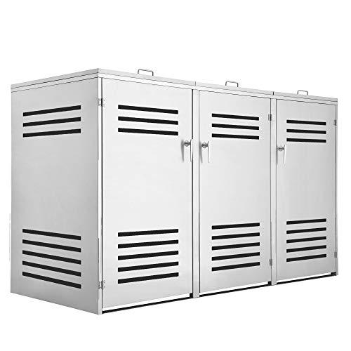 Zelsius Edelstahl Mülltonnenbox Lines für 3 Mülltonnen je 120 und/oder 240 Liter, Mülltonnenverkleidung mit 3 Klappdeckel, Metall Müllbox, abschließbar