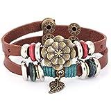 Morella Damen Lederarmband braun doppelt mit Ringen, Blatt und Blume
