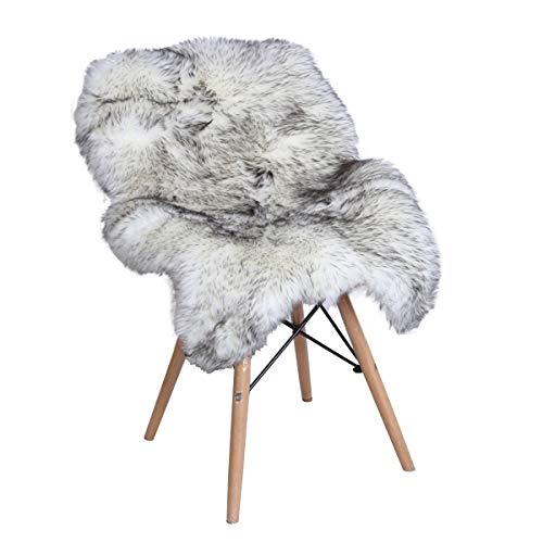 iCasso Faux Pelz Teppiche, flauschig weich Hairy Große Teppich rutschfeste Matten für Stuhl Bett Sofa Boden mit extra lange Wolle, 60 * 100 cm schwarz/weiß