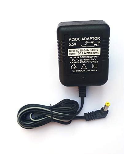 Pluto Accessories 5.5V 500mA Universa AC Power Adaptor for Cordless Telephone