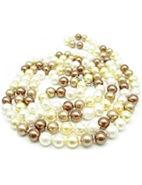8mm White Yellow Brown Milticolour Round Shell Pearl 120cm 47 Inches Long Silver Clasp Necklace Bride Wedding Mother Christmas Gift