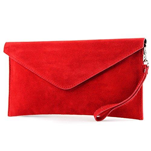 modamoda de - ital. Ledertasche Clutch Unterarmtasche Abendtasche Citytasche Wildleder T106 , Präzise (Handtasche Rote)