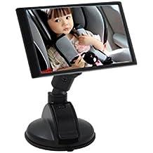 NWYJR Espejo retrovisor girar función claro seguro Simple asegurar instalar asiento trasero fijación correas succión taza bebé coche espejo retrovisor , A