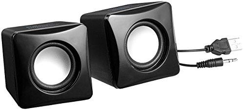 auvisio Laptop Lautsprecher: Stereo-Aktiv-Lautsprecher im Cube-Design, USB-Stromanschluss, 8 Watt (Lautsprecher PC)