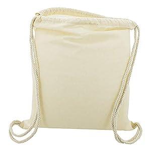 10 x Bolsa Mochila Algodón Natural Con Cordones Tamaño 39 x 35 Centimetros
