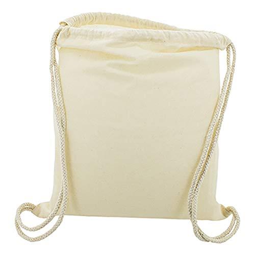 10 x Bolsa Mochila Algodón Natural Con Cordones Tamaño