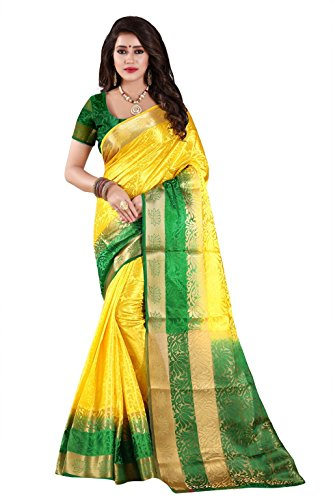 Nirja Creation Cotton Silk Saree (NC-OD-LTS-3_Yellow_Free Size)