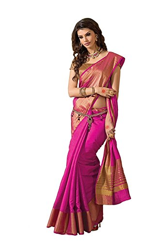 Indian Beauty Women's Cotton Silk Saree (Red-Green Repi_Pink)