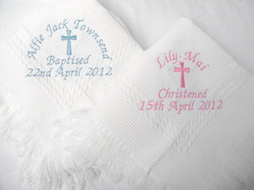 Giftsabc Christening / baptism personalised shawl with big cross in white or cream (white)