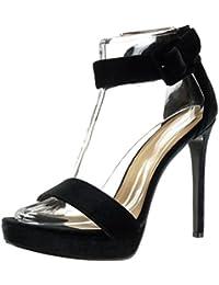 Angkorly - Chaussure Mode Escarpin Sandale stiletto lanière cheville plateforme femme boucle Talon haut aiguille 13 CM - Noir