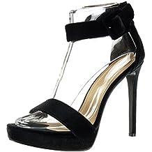 Angkorly - Zapatillas de Moda Tacón escarpín Sandalias stiletto Correa de tobillo zapatillas de plataforma mujer Hebilla Talón Tacón de aguja alto 13 CM - Negro