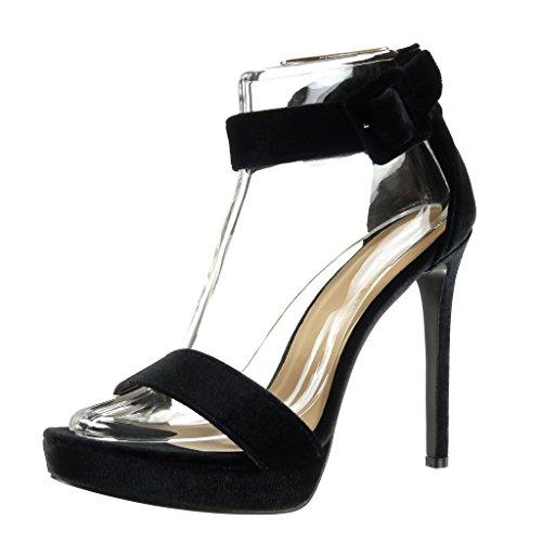 Angkorly Damen Schuhe Pumpe Sandalen - Stiletto - Knöchelriemen - Plateauschuhe - Schleife Stiletto High Heel 13 cm - Schwarz C-259 T 36
