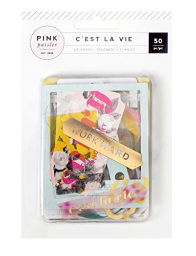 American Crafts C'est La Vie Ephemera Die Cuts-50/Pkg-Cartoncino e acetato, W/Gold Foil, altri, multicolore