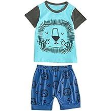 2685f82d1 Luckycat Unisexo Niño Niña Camiseta y Pantalón Corto Chica Dibujos Animados  León ImpresióN Camiseta de Manga