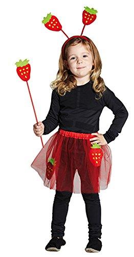 �m Erdbeere Kinderkostüm Kinder Mädchen Frucht 3 teilig (Kinder-frucht-kostüm)