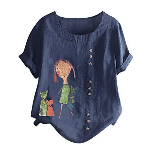 kolila Plus Size Damen Cute Kreative Drucken Kurzarm Tops T Shirts Tops Lässig Rundhals Oberteile Tops mit Knopf -