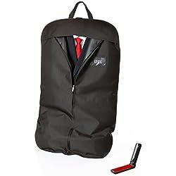 KHADAL Premium Kleidersack für bis zu 3 Anzüge | hochqualitative & Wasserabweisende Anzugtasche zur idealen Aufbewahrung von Anzügen & Kleidern | Anzugsack inkl. Flusenbürste (1)