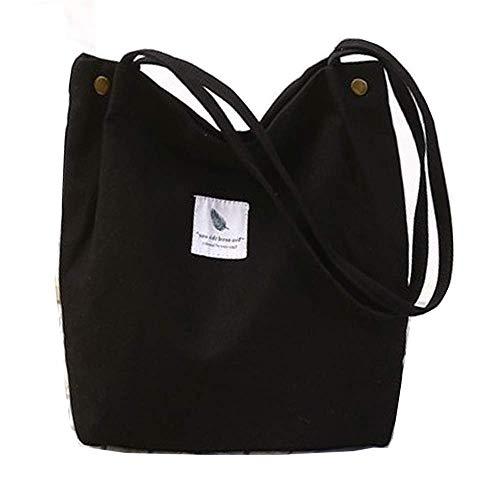 Yidarton Canvas Tasche Damen Canvas Umhängetasche Shopper Casual Handtasche groß Chic Schulrucksack für Alltag Büro Schulausflug Einkauf, 38 x 32 x 11cm Schwarz (Camping Tasche Canvas)
