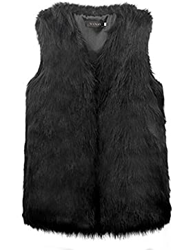 Vlunt - Chaleco para mujer, de pelo largo piel sintética