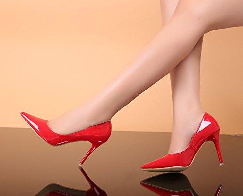 Aisun Damen Sexy Spitz Zehen Low Top Lackleder Stiletto Pumps Rot