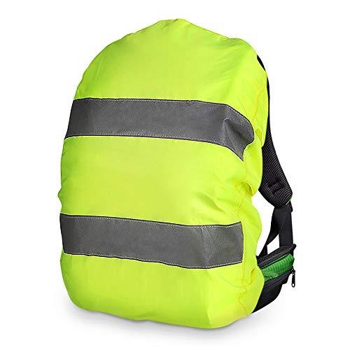 laxikoo Regenschutz Rucksack, Wasserfester Regenhülle Rucksackschutz Rucksackcover Regenabdeckung mit 2 Reflektorstreifen, Perfekt für Schulranzen, Neon Gelb - Ziehen Untere Lagerung
