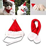 COM4SPORT Pet Natale cappello, rosso e bianco Natale Pet cappello e sciarpa, adatto per piccoli animali gatti e cani, PET Christmas Fancy Dress