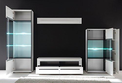 Wohnwand Anbauwand mit LED-Beleuchtung 440941 weiß 290cm 4-teilig - 3