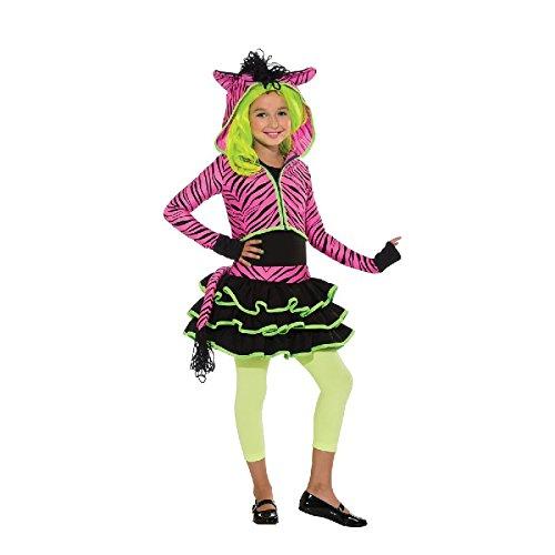 Rubie's Neon-pink Zebra Hoodie Kinder Kostüm zu Karneval Fasching Gr.M (Neon Zebra Kostüm)