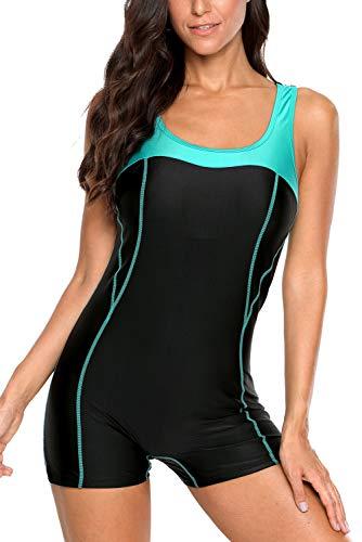 Vegatos Damen Sportliche Badeanzüge Mit Bein Racer Back Einteiliger Badeanzug Figurformend Bademode Schwimmanzug Schwarz 2XL