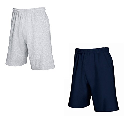 2er-Pack Fruit of The Loom Herren Kurze Sporthosen Jogginghosen Lightweight Shorts (XXL, Grau & Navy)