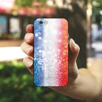Apple iPhone X Silikon Hülle Case Schutzhülle Frankfreich Glitzer Flagge Silikon Case schwarz / weiß