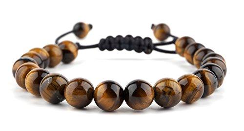 GOOD.designs Herren Armband 'Shamballa', Perlenarmband geflochten aus echten Onyx, Tiger oder Lava Natursteinen in Schwarz (Tigerauge)