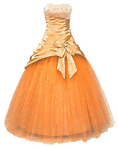 Zorayi Damen A-Linie Lang Perlen Prinzessin Abendkleid Partykleid Prom Ballkleider Orange Größe 40