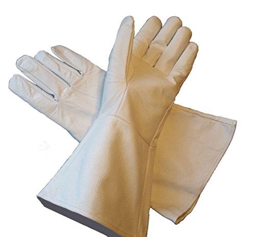 Leather Mystics Leder Stulpenhandschuhe weiß X-Large (Extra Groß) lang Arm Manschette