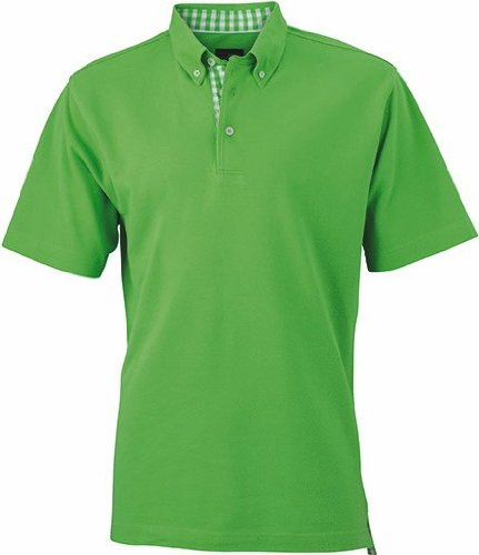 James+Nicholson Plain Poloshirt mit modischem Karoeinsatz JN 964 Lime Green/Lime Green/White