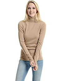 LADIES/WOMEN'S STRETCHY ROLL-NECK LONG-SLEEVE COTTON PLAIN TOPS