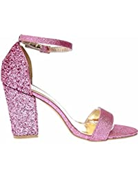 470b1eab9f Women Beautiful Glitter Block Heel Ankle Strap with Peep Toe Sandal Size  from UK 3-