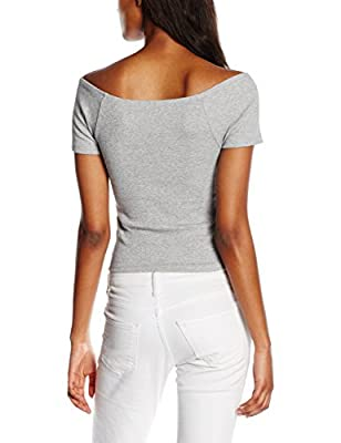 New Look Women's Ribbed Bardot Short Sleeve Top