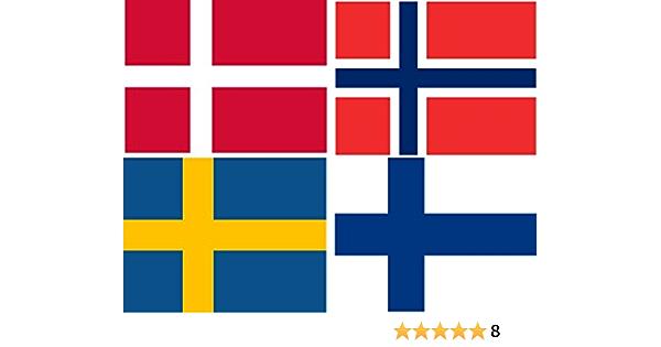 Michael Rene Pflüger Barmstedt Aufkleber Set Fahne Von Norwegen Dänemark Schweden Finnland Flaggen Sticker Autoaufkleber Auto