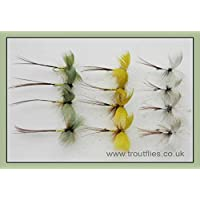 Drake Mayflies, 12 Pack Coloured Drake Mayfly Fishing Flies, Green, Grey, YellowSize 10 hook, Trout Fishing Flies