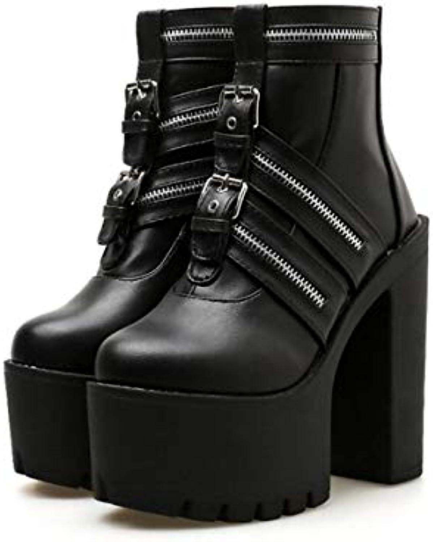 DANDANJIE Femmes Casual Martin Martin Martin Bottes Super Haut Talon Chaussures avec Plate-Forme Zipper Boucle Chaussures de... c13d6b